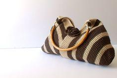 Crochet brown shoulder bag-Everyday Bag-Shoulder Bag, moms gift, Holiday Accessories,Hobo bag-eco mothers day
