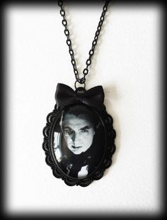 Gothic Victorian Glass Cameo Necklace - Count Dracula - Vampire - Bela Lugosi by WhisperToTheMoon on Etsy