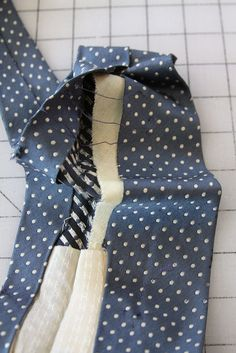 Prepping silk ties for quilting