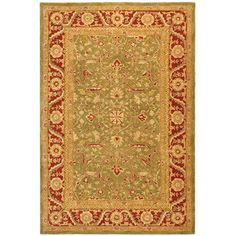 @Overstock - Add casual elegance to your home decor with this traditional area rug Area rug is made of 100-percent hand-spun wool for an old world feel Rug features ultra dense, thick woven pilehttp://www.overstock.com/Home-Garden/Handmade-Ancestry-Green-Red-Wool-Rug-6-x-9/3102812/product.html?CID=214117 $246.70