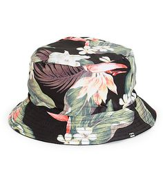 Add some Aloha to your daily look with this reversible bucket hat that features a tropical floral sublimated print on the exterior with a solid black canvas reverse side.