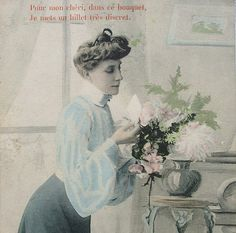 Antique French Postcard  The Secret Note... by ChicEtChoc on Etsy, $4.50