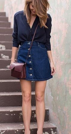 Chic fashion style #nightoutstyle #denimskirtoutifsummer