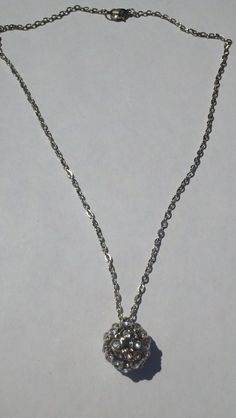 "# 805. Simple yet beautiful 18"" long necklace with jeweled ball pendant.   $25.00"