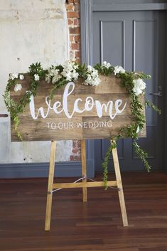 Simple yet elegant trailing foliage and white bougainvillea on this wedding welcome sign. Small Wedding Receptions, Wedding Reception Decorations, Yard Decorations, Wedding Prep, Rustic Wedding, Gold Wedding, Wedding Ideas, Wedding Welcome Board, Blue Wedding Centerpieces