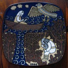 1980 Arabia Finland Kalevala annual plate designed by Raija Uosikkinen Plate Design, Creature Design, Scandinavian Design, Finland, Louis Vuitton Monogram, Folk Art, Print Patterns, Fashion Backpack, Childhood