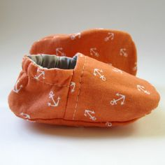 Reversible Baby Booties in Orange Anchors and Khaki Grey - Sizes 1-4. $20.00, via Etsy.