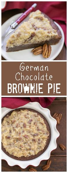 German Chocolate Brownie Pie. Fudgy brownie pie topped with the classic German chocolate frosting!