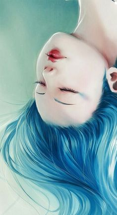 Resultado de imagen para anime girl with blue hair