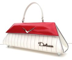 Deluxe White & Red with Tuck & Roll, Couture Vintage Car inspired Handbag. Handmade in the USA by RevampProductions, $400.00