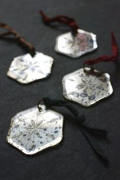 Mirror snowflake tree decorations: set of four - - from Decorator's Notebook Shop (they ship to UK, Europe and USA)