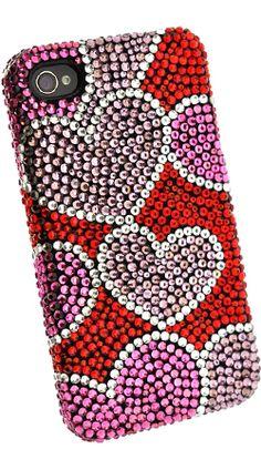 Fonerange Apple iPhone 4/4S Bling Crystal Shell Case Hearts - Fones.com