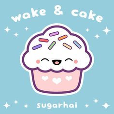 Cute pink cupcake with rainbow sprinkles. Wake & Cake!