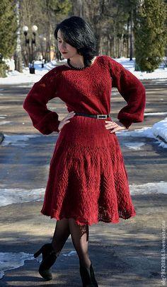 """Купить Ажурное платье """"Пьяная вишня"""" - бордовый, платье вязаное, Платье нарядное, платье спицами"""