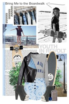 """""""Longboarding- Boardwalk Style"""" by heidior ❤ liked on Polyvore featuring Nearly Natural, Acne Studios, Isabel Marant, Hedi Slimane, Wildfox, Topshop, Jeffrey Campbell, Jagger Edge, Laka and Studs"""