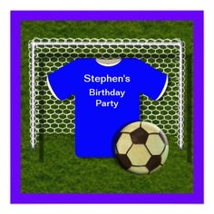 Blue  Football/Soccer Theme  kid's Birthday Party Invitations - easy to personalize template