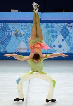 acrobatic :o!! France's Nathalie Pechalat and France's Fabian Bourzat perform in the Figure Skating Ice Dance Free Dance at the Iceberg Skating Palace during the Sochi Winter Olympics on February 17, 2014. AFP PHOTO / YURI KADOBNOV (Photo credit should read YURI KADOBNOV/AFP/Getty Images)