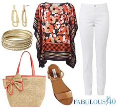 Pair white jeans with a scarf top | Fabulous After 40