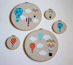 Hot Air Balloon Nursery Art- Embroidery Hoop Applique- Orange. $12.00, via Etsy.