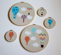 Hot Air Balloon Nursery Art- Embroidery Hoop Applique- Orange. $12.00, via Etsy.