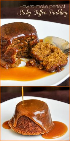Perfect Sticky Toffee Pudding - the best version of this classic British dessert that I've ever tried. Baked in muffin pans for perfect portions of this moist, rich dense dessert served with an indulgent toffee sauce.