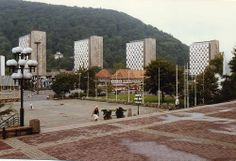 Suhl DDR with Wohnblocks,Waffenmuseum and Willi Neubert Mural.  Aug 1989    #suhl #german #thueringen #Thuringia