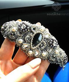 Hematite, grey, white bracelet, bead embroidery