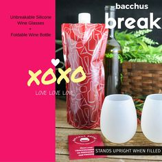 http://www.bacchusbreak.com  Perfect Valentine's Gift for your Wine lover  @bacchusbreak #siliconewineglasses plus #foldablewinebottle Drink your wine ANYWHERE!!!!