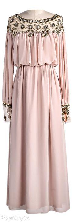 Sheinside Bead Pleated Chiffon Dress