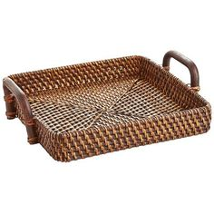Pier 1. $24.95. When it comes to serving another round, our hand-woven Rattan Tray is a handy helper. Flaunting iron handles for easy gripping, it boasts a deep lip to easily carry snacks and drinks from room to room.