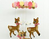 Deer and roses baby mobile made from 100% pure wool felt. Nursery, baby shower, christening. $99.00