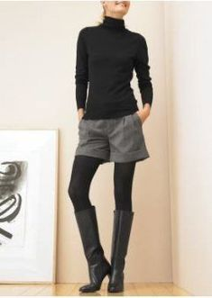 37 ideas on how to wear shorts with black tights in 2019 - . 37 ideas on how to wear 2019 shorts with black tights Winter Dresses With Boots, Winter Shorts Outfits, Winter Tights, Legging Outfits, Dress With Boots, Cool Outfits, Outfit Winter, Shorts For Winter, Winter Clothes