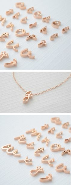 Cursive Letter Necklace // typography-inspired design #wearabledesign I am not normally into this kind of jewelry but I think its really cute!
