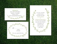 DIY- Floral Wreath, printable Wedding Invitation Suite with rsvp, save the date
