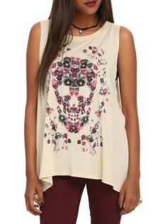 Floral Skull Open-Back Girls Tank Top