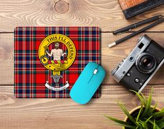 Rubber mousemat with MacFarlane clan crest and tartan - only from ScotClans