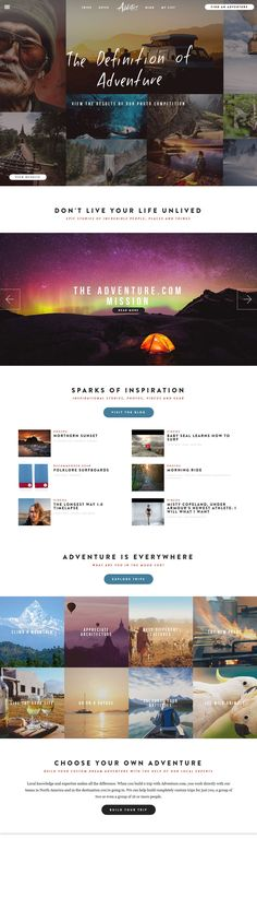 Flat Design Website; Example; Category: Inspiration; Name Website: Adventure; Type Website: Venture out of your comfort zone.