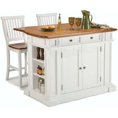 The kitchen island and bar stools are constructed of solid and engineered woods in a White finish and distressed oak top. Features include an antique nickel hardware, storage drawer, adjustable shelves, and storage on ends with an adjustable shelf.