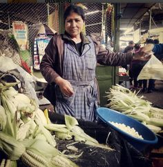 Shopping day for Project Peru! Delicious choclo (corn) in the Puente Piedra market. The kernels are giant!