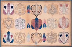 Heart-and-Hand Love token. Artist unidentified. Probably New England c. 1820. Watercolor and ink with gilt paper on cut and pinpricked paper, mounted on paper. American Folk Art Museum, promised gift of Ralph Esmerian.