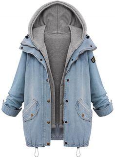 Fashion 2 Piece Hooded Vest Denim Jacket Set - OASAP.com