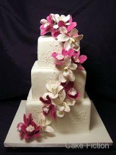 Cake Fiction: Magenta Orchids Wedding Cake and St Hugh's Groom's Cake