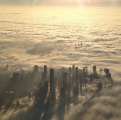 New York City in the clouds. This is probably one of the most beautiful things I have ever seen.
