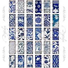 Free Collage Sheets for Pendants   Asian Blue Porcelain 6 - Domino 1x2 Pendant Digital Collage Sheet ...