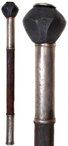 Ottoman mace, mid-16th century steel head of polylobate form, refitted to a leather-covered wooden haft with silver mounts. Late 17th century. This type of mace were popular with Ottoman, Polish, Cossack and Tatar warriors, representing a symbol of rank as well as a weapon. Overall length 45.5 cm.