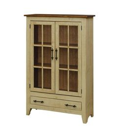 Amish Pine 2-Door Display Cabinet Tuck away special items and collections in this beautiful pine cabinet. Select the finish that works best for your decor. Custom cabinets handcrafted in Amish country. #pinecabinet #displaycabinet