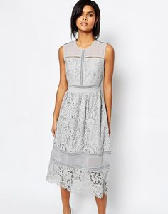 Image 1 of Whistles Midi Dress in Bonded Lace
