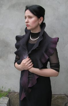 Handmade wool felted stole cape capelet scarf Elegant Black Wavy felted shawl wrap