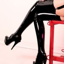 Adult Woman Sexy Lingerie Clothing Underwear Faux Leather Wet Looking Thigh High Stockings Costume Best Seller follow this link http://shopingayo.space