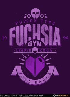 Fuchsia City Gym is available this week only as a tee, hoodie, phone case, and more! Available until 9/21 at OnceUponaTee.net starting at $12! #Pokemon #Fuchsia #VideoGames